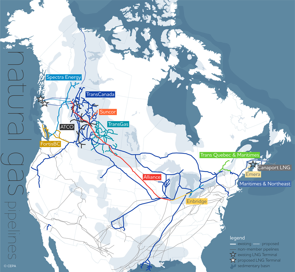 Pipelines natural gas albertas energy heritage the coloured web of lines on this map of alberta illustrates the central role played by gumiabroncs Image collections